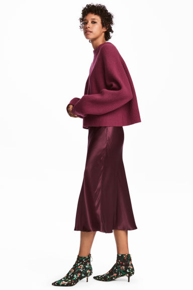 Gonna al polpaccio in satin - Bordeaux - DONNA | H&M IT 1