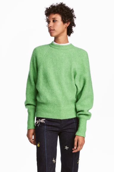 Jumper in a mohair blend - Green marl - Ladies | H&M GB