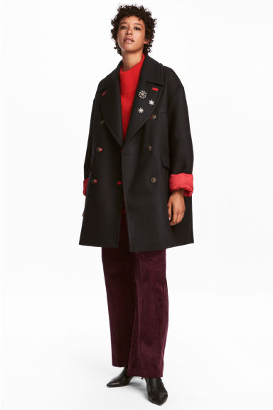 Wool-blend pea coat - Black - Ladies | H&M