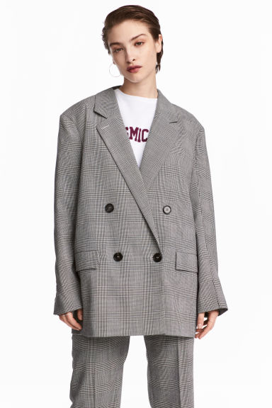 Wool-blend jacket - Grey/Dogtooth - Ladies | H&M CN