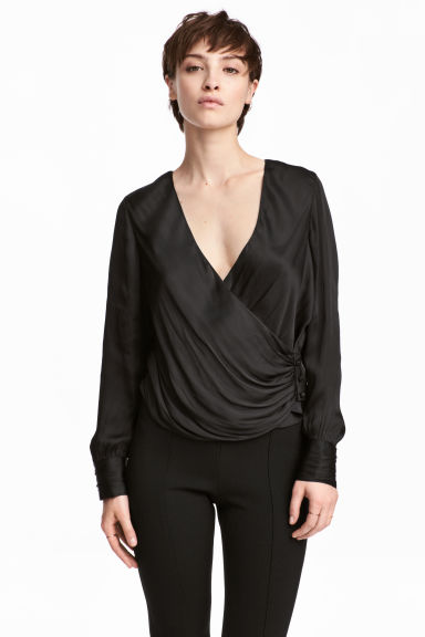 Wrapover satin blouse - Black - Ladies | H&M