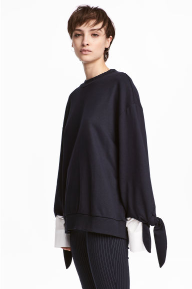 Sweatshirt with a ties - Dark blue - Ladies | H&M