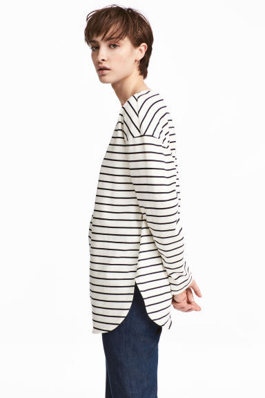 Wide jersey top - White/Blue striped - Ladies | H&M