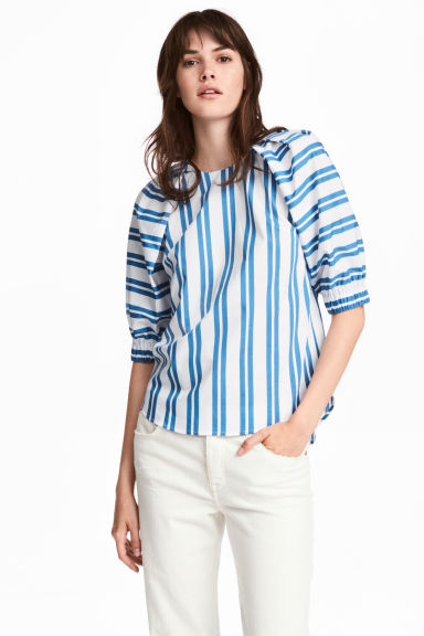 Cotton blouse - White/Blue striped - Ladies | H&M IE