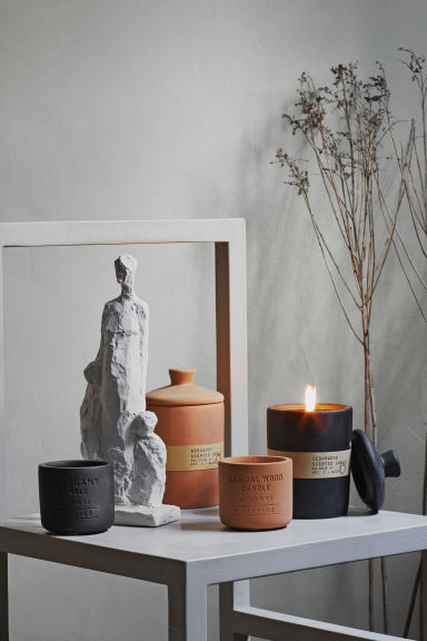 Candle in a concrete holder - Black - Home All | H&M IE