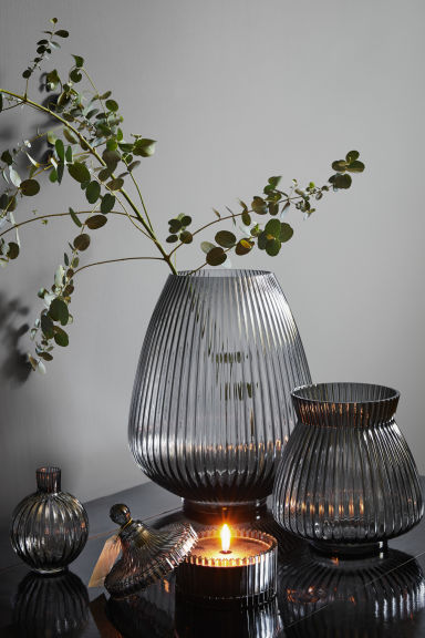 Grand vase en verre - Gris charbon - Home All | H&M CA