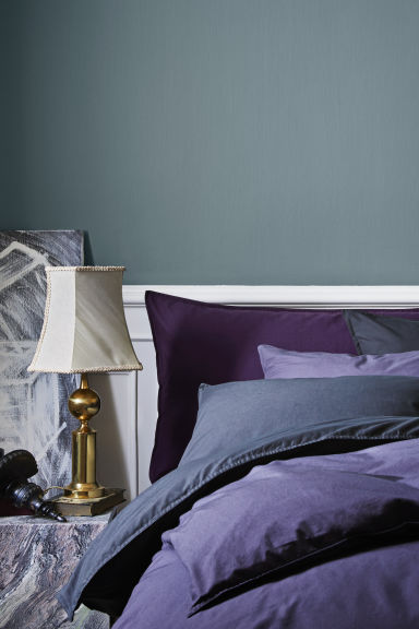 Washed Cotton Duvet Cover Set - Purple - Home All | H&M CA