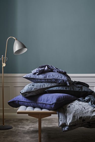 Washed linen duvet cover set - Dark grey/Patterned - Home All | H&M IE