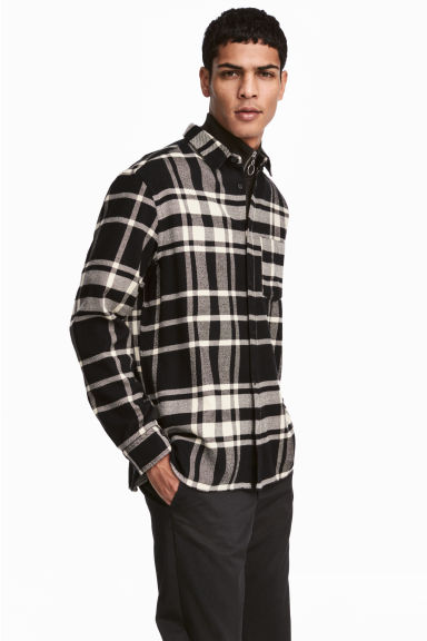 Flannel shirt Regular fit - Black/Checked -  | H&M