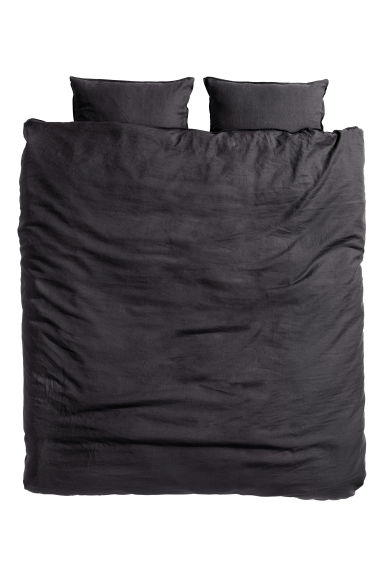 Washed linen duvet cover set - Anthracite grey - Home All | H&M CN