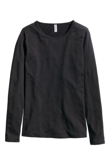 Long-sleeved jersey top - Black -  | H&M