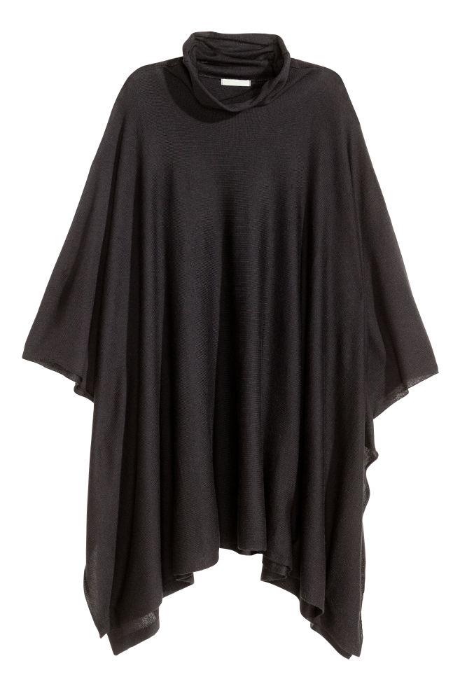 79876252a ... Fine-knit poncho - Black - Ladies   H&M ...