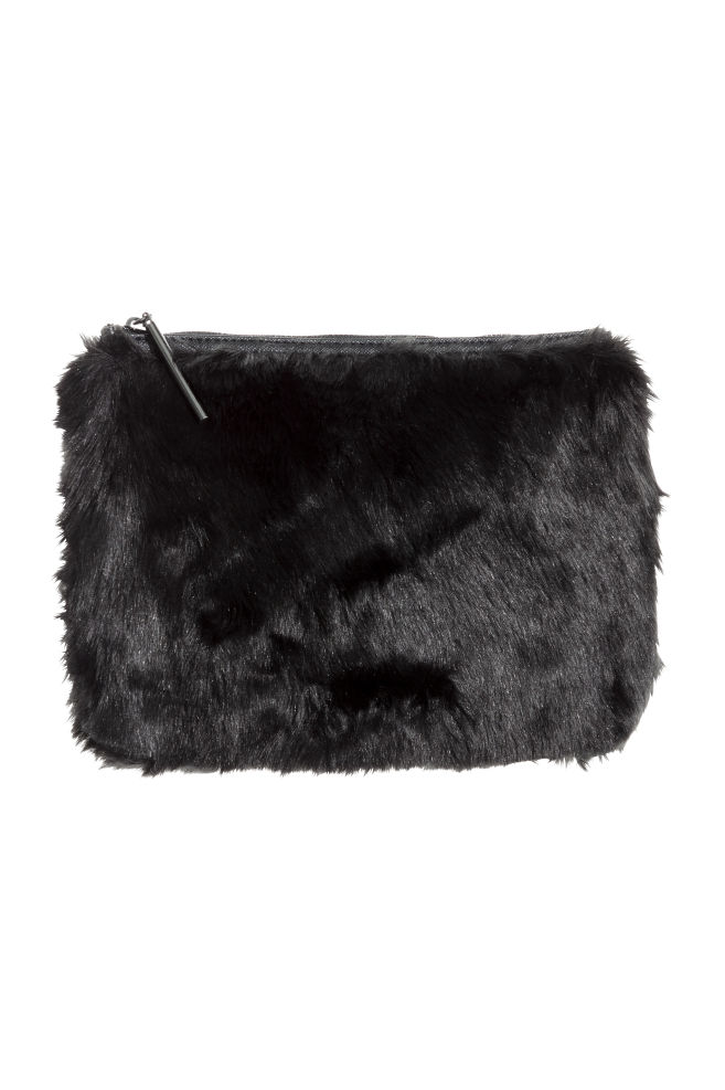 ba15728088 Faux fur clutch bag - Black - Ladies