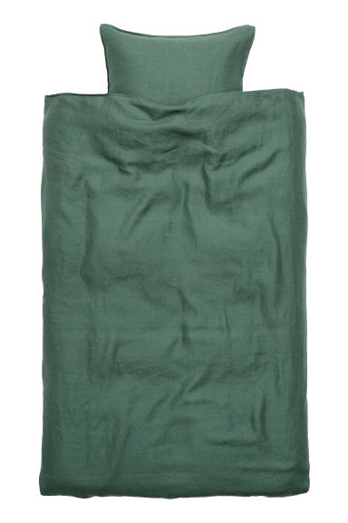 Washed linen duvet cover set - Dark green - Home All | H&M GB