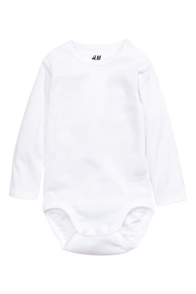 Long-sleeved bodysuit - White - Kids | H&M GB