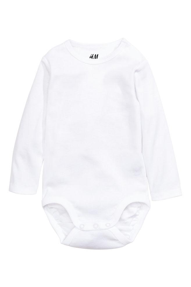 03382a58f6f Long-sleeved bodysuit - White - Kids | H&M ...