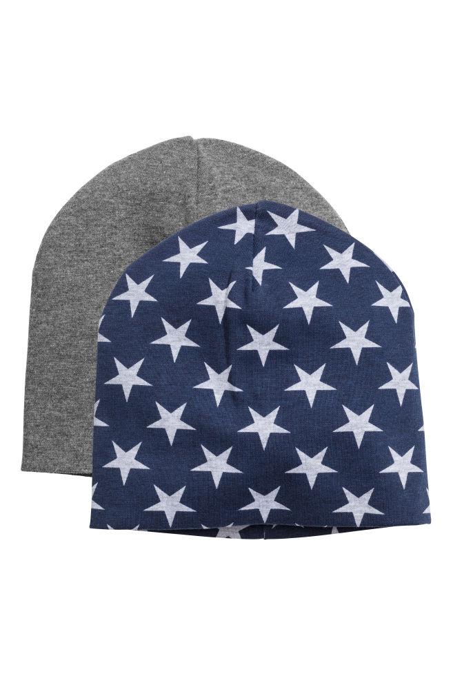 2a90ed3a49ebd Pack de 2 gorros de punto - Azul oscuro Estrellas - NIÑOS