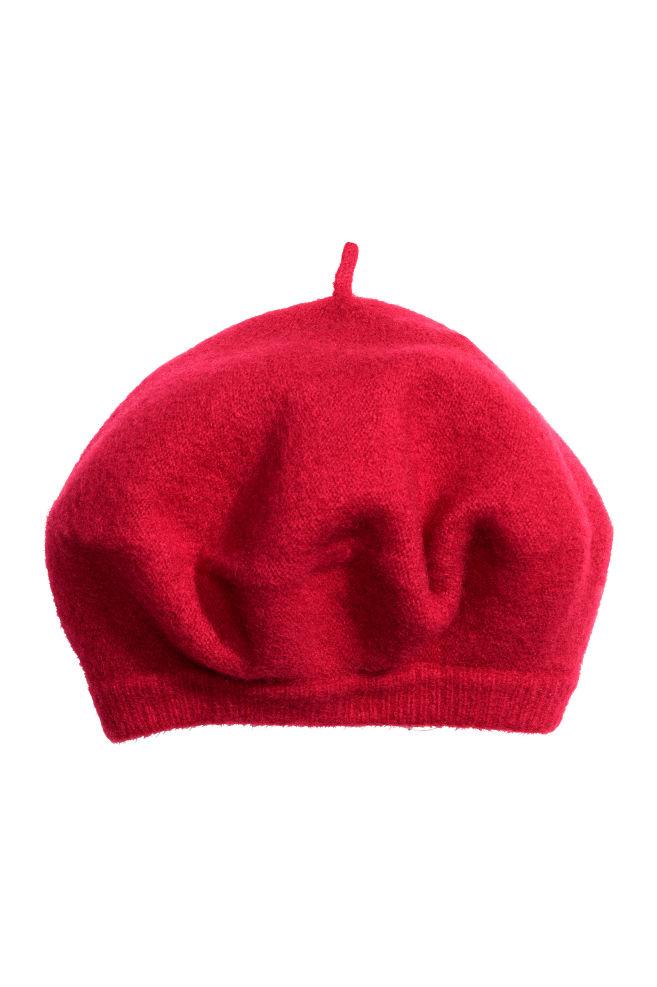 Béret en laine mélangée - Rouge - FEMME   H M ... 1b14cb3847e