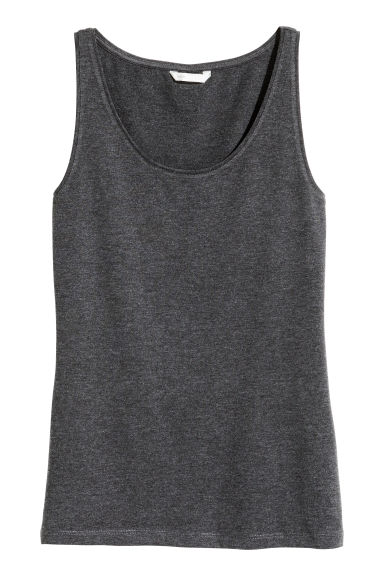 Jersey vest top - Dark grey marl - Ladies | H&M CN