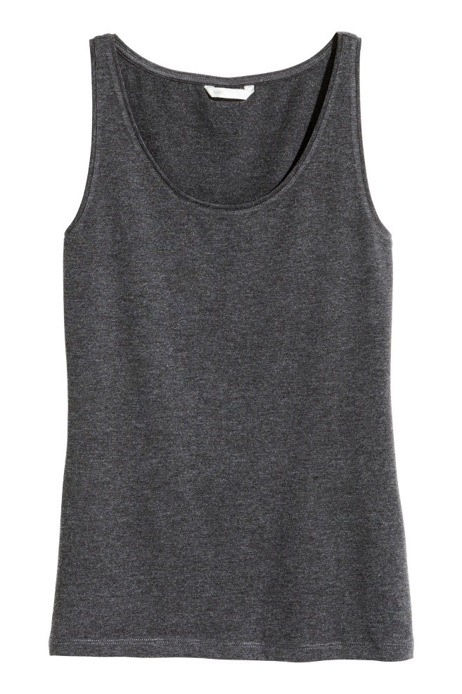 7497d6a434214 Jersey vest top - Dark grey marl - Ladies