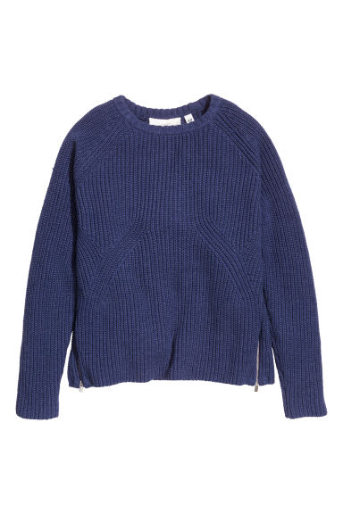 Knitted jumper with zips - Dark blue - Ladies | H&M GB