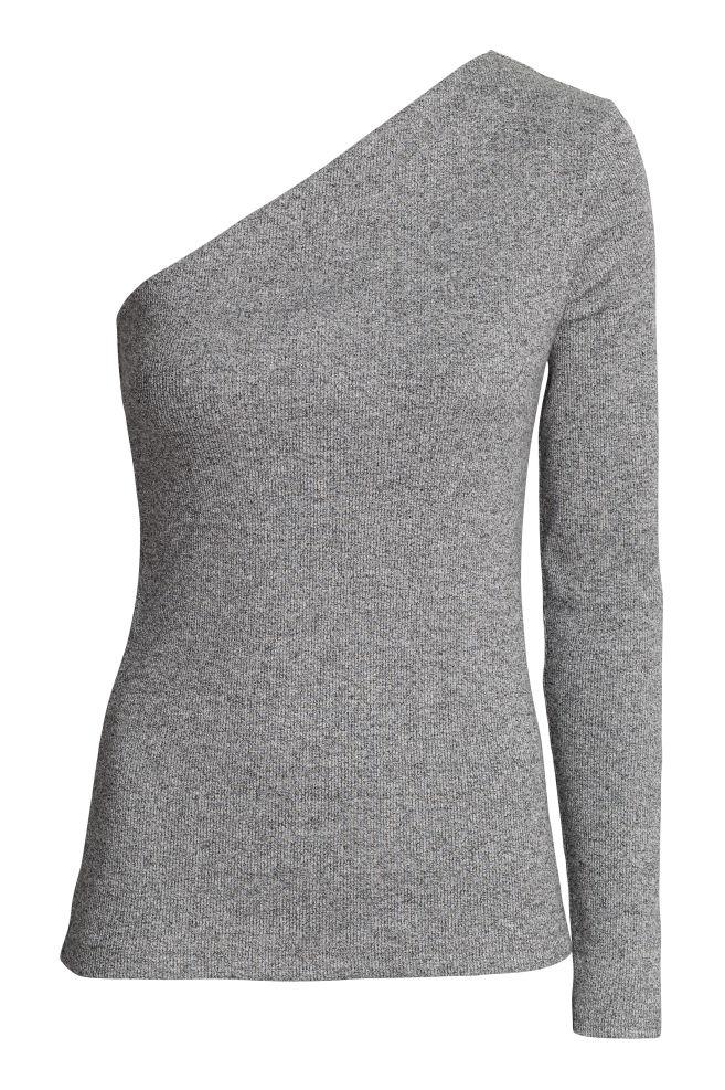 b7088e1f339 One-shoulder top - Dark grey marl - Ladies | H&M ...