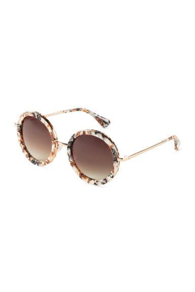 lunettes de soleil rondes beige motif femme h m fr. Black Bedroom Furniture Sets. Home Design Ideas