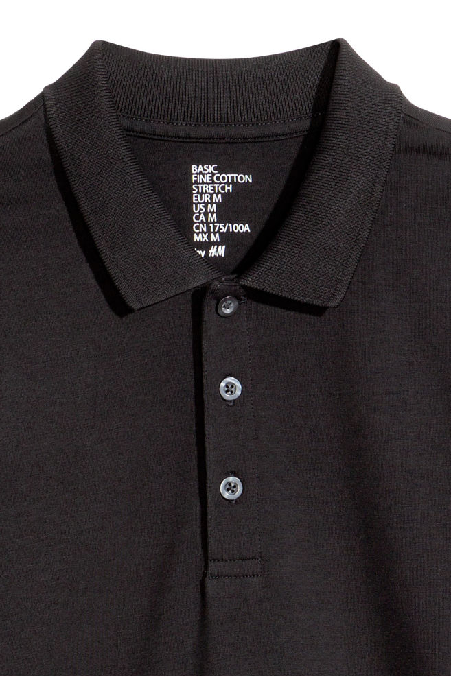 efce10461 ... Long-sleeved polo shirt - Black - Men | H&M ...