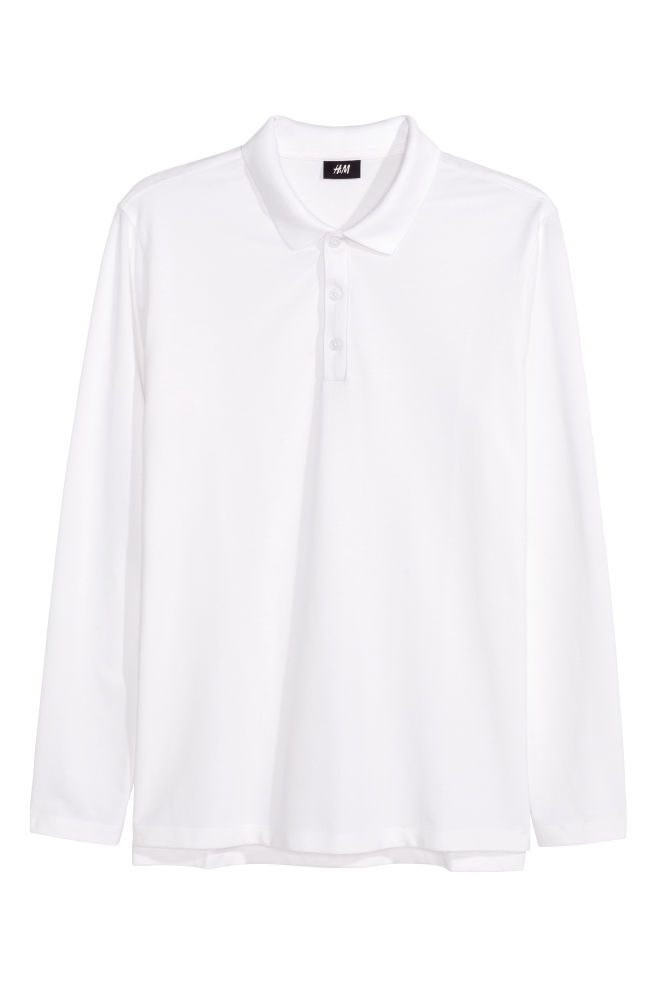 7e8d76d88 Long-sleeved polo shirt - White - Men | H&M ...