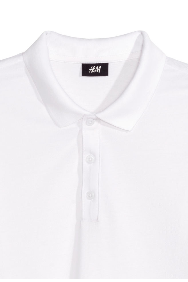 4f16e86a1 ... Long-sleeved polo shirt - White - Men | H&M ...