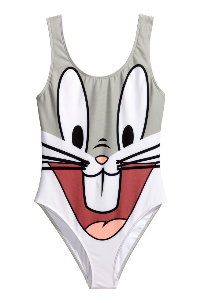 73e18d6f00e80 Badeanzug mit Druck - Grau/Looney Tunes - DAMEN | H&M CH ...
