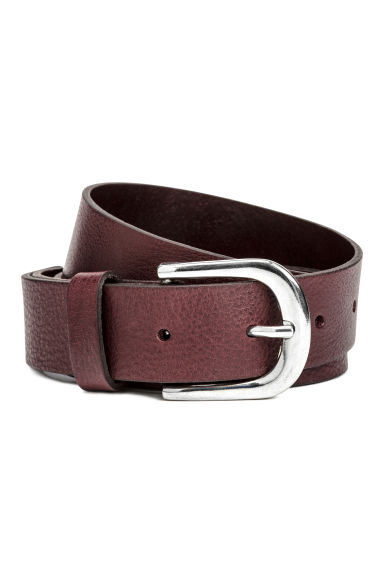 Leather belt - Burgundy - Ladies | H&M GB