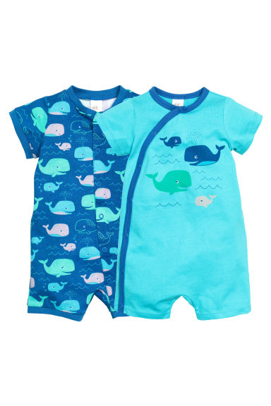 2-pack all-in-one pyjamas - Blue/Whale - Kids | H&M