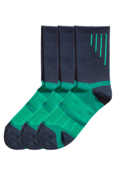 3-pack sports socks - Green - Men | H&M