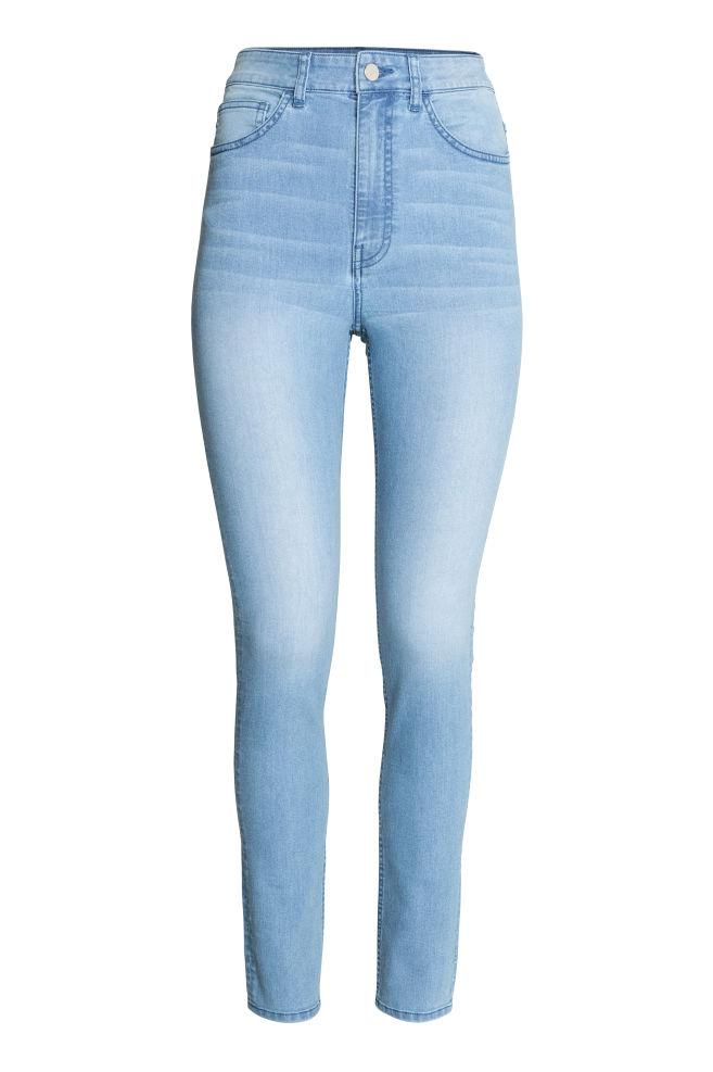 633cc6134e1 Kalhoty s vysokým pasem - Světlý denim blue - ŽENY