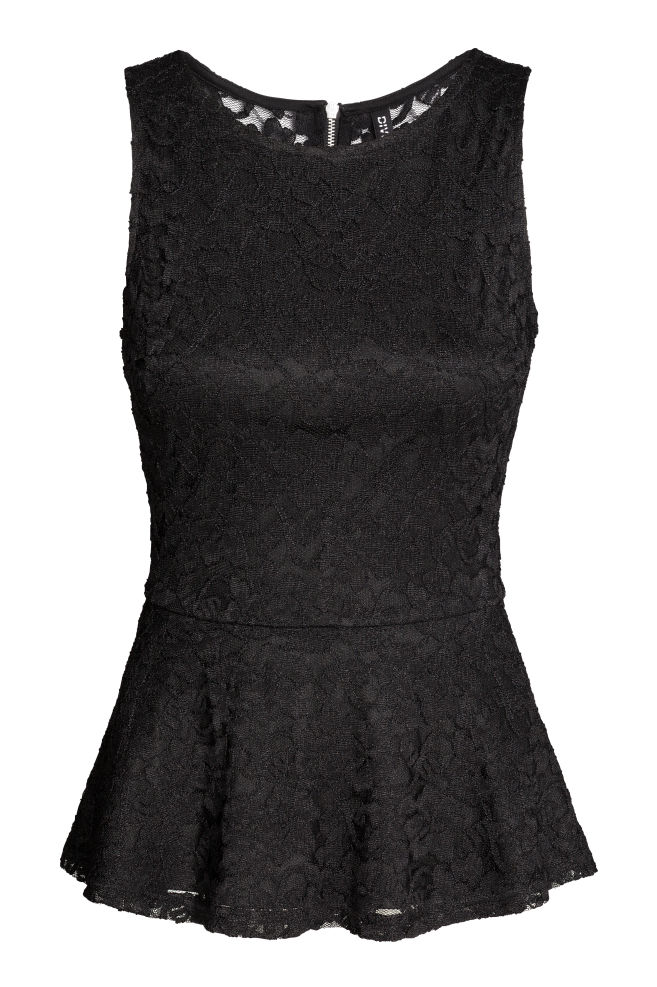 99185bbe6592b8 Top z baskinką - Czarny - | H&M ...