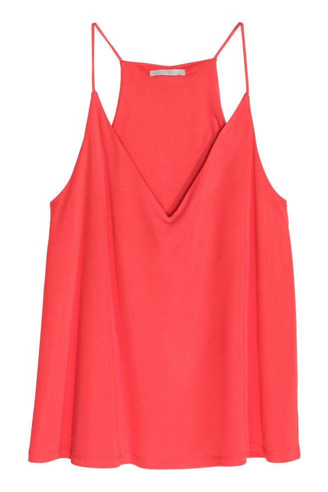 b389033007 V-nyakú ujjatlan felső - Piros - NŐI | H&M ...