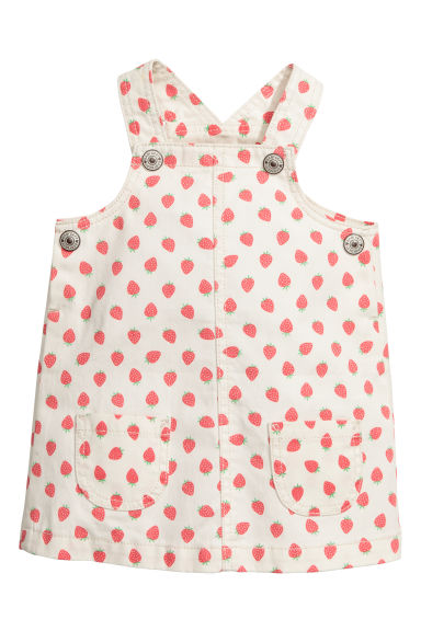 Denim bib dress - White/Strawberries - Kids | H&M GB