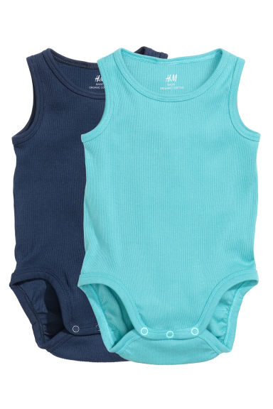 2-pack sleeveless bodysuits - Turquoise - Kids | H&M
