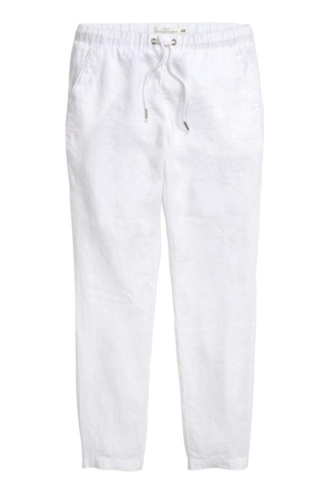 e6285f68cad0c Pantalon en lin - Blanc - FEMME | H&M ...