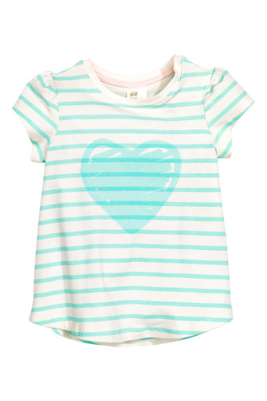 Top with a print motif - Mint green/Striped - Kids | H&M GB