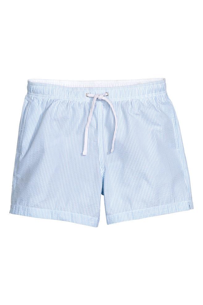 006340a208 Seersucker swim shorts - Light blue/Striped - Men | H&M ...