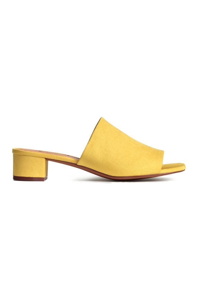 a4ee433be Mules with a block heel - Yellow - Ladies   H&M ...