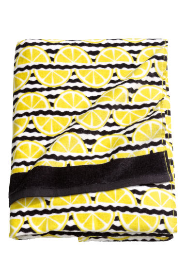 Serviette de plage à motif - Noir/citrons - Home All | H&M FR