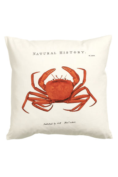 Cushion cover with a motif - White/Crab - Home All | H&M GB