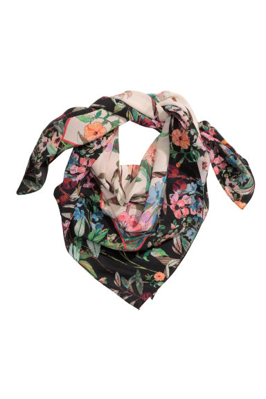 Patterned silk scarf - Powder/Floral - Ladies | H&M GB