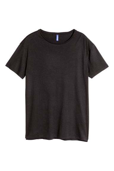 Long T-shirt - Black -  | H&M