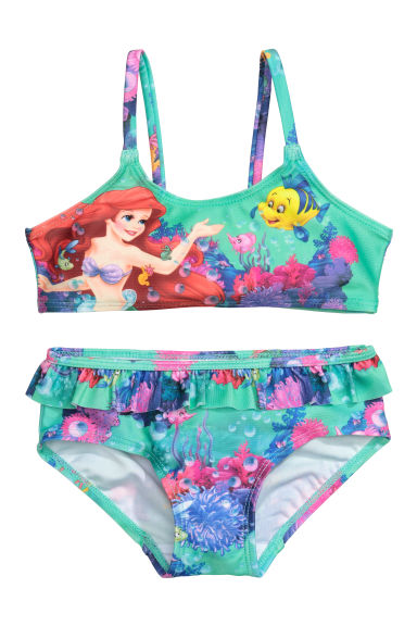 Patterned bikini - Green/The Little Mermaid - Kids | H&M IE
