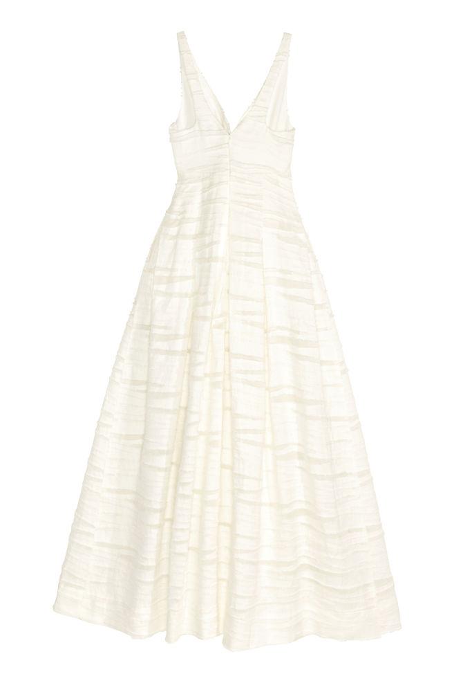 c3aa0a7e412f ... Šaty ze směsi lnu a hedvábí - Bílá - ŽENY
