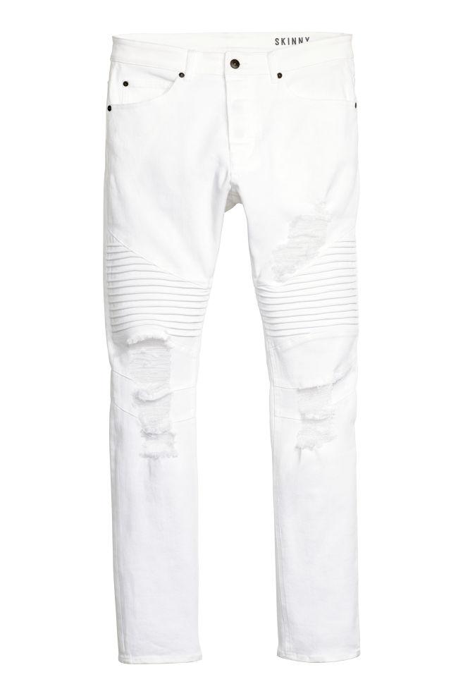 Skinny Trashed Biker Jeans White Men H M Cn